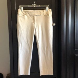 White House Black Market tan stretch crop pants